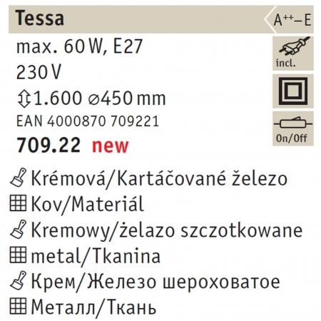 70922 TESSA STEHL.MAX.1X50W E27 CREME Paulmann